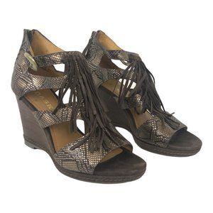 Trask Felicity Snake Print Fringe Wedge Sandals